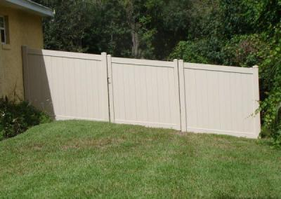 Tongue and Groove with Custom Gate Tan - Vinyl Fence - Fence It - orgcw20190805